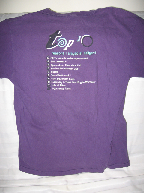 Back of Taligent shirt